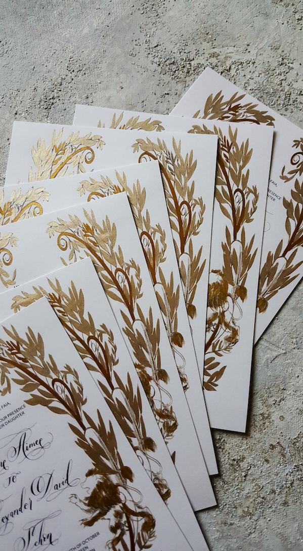 Gold Leaves Wedding Stationery