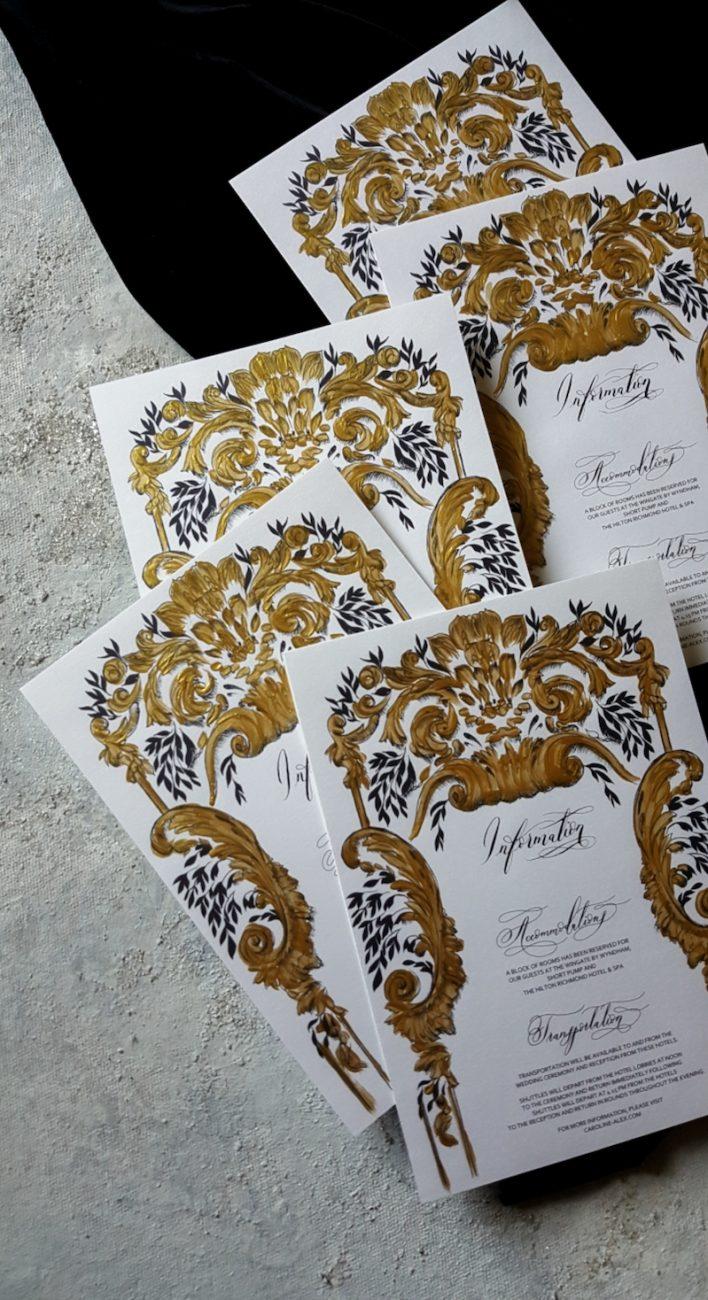 Gold Ornate Wedding Stationery Design