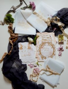 Hand Painted Wedding Stationery Vienna suite full collection
