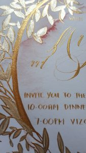 Hand Painted Wedding Stationery Vienna suite hand painted gold leaves