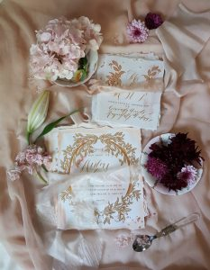 Hand Painted Wedding Stationery Vienna suite invitation and rsvp styled with flowers