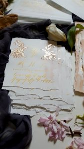 Hand Painted Wedding Stationery Vienna suite rsvp card pile with deckled edges