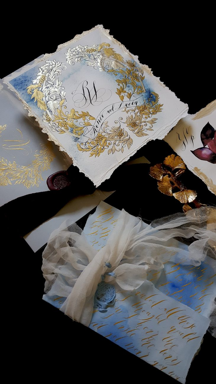 Italian Themed Wedding Invitations - blue hand painted envelope with gold calligraphy