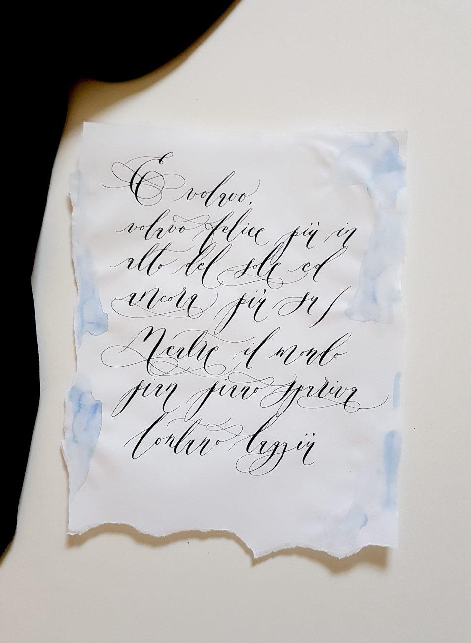 Italian Themed Wedding Invitations - calligraphy poem
