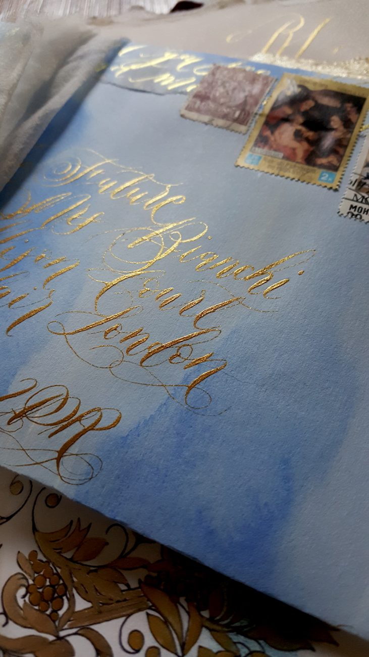 Italian Themed Wedding Invitations - envelope addressed with gold calligraphy