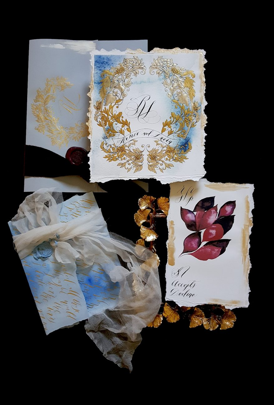 Italian Themed Wedding Invitations - hand painted wedding invitation with gold ink