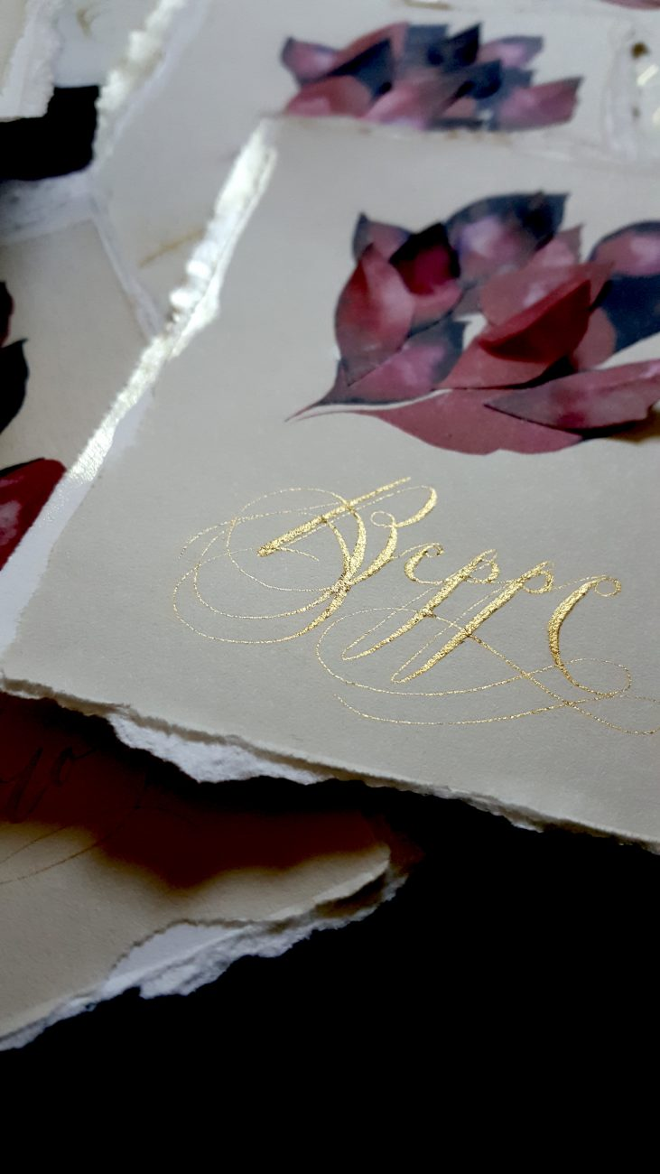 Italian Themed Wedding Invitations - place names with gold calligraphy