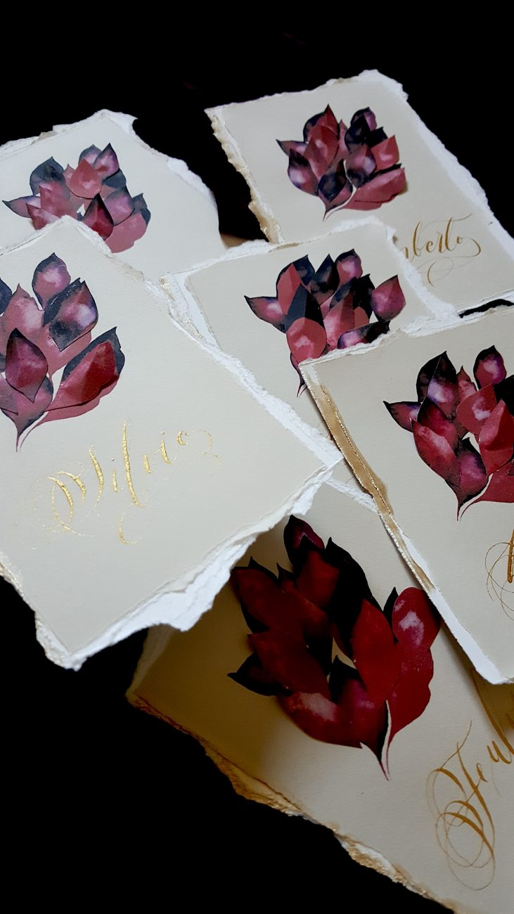 Italian Themed Wedding Invitations - place names with red leaves