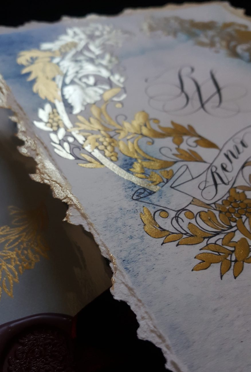 Italian Themed Wedding Invitations - wedding invitation card with gold deckled edge