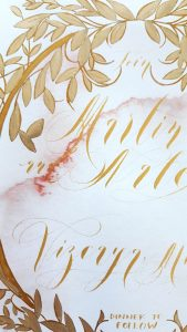 Vienna Renaissance Hand Painted Wedding invitations detail