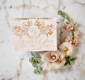 Wedding Stationery Designer gold save the date card