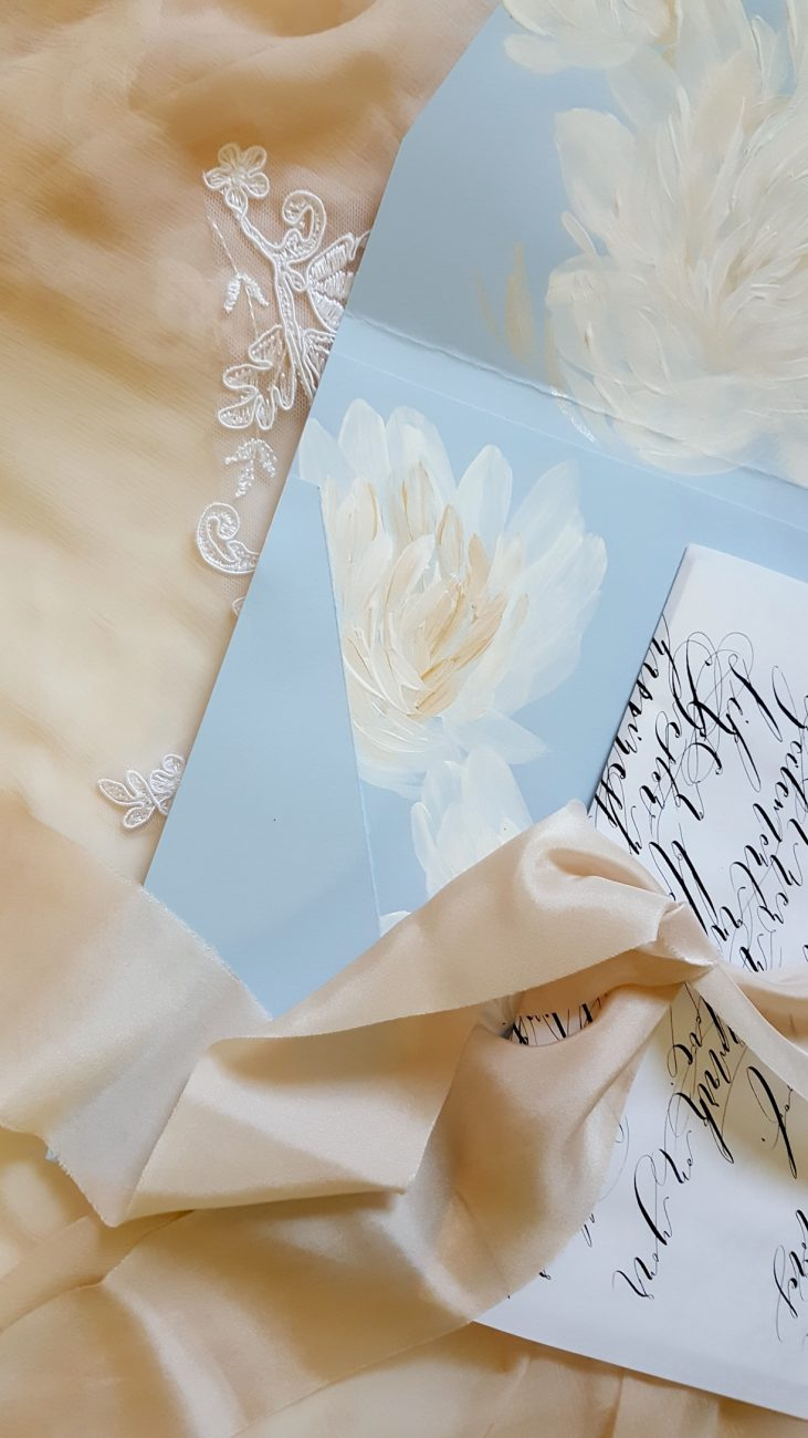 Hand Painted Wedding Stationery blue envelope and calligraphy wrap