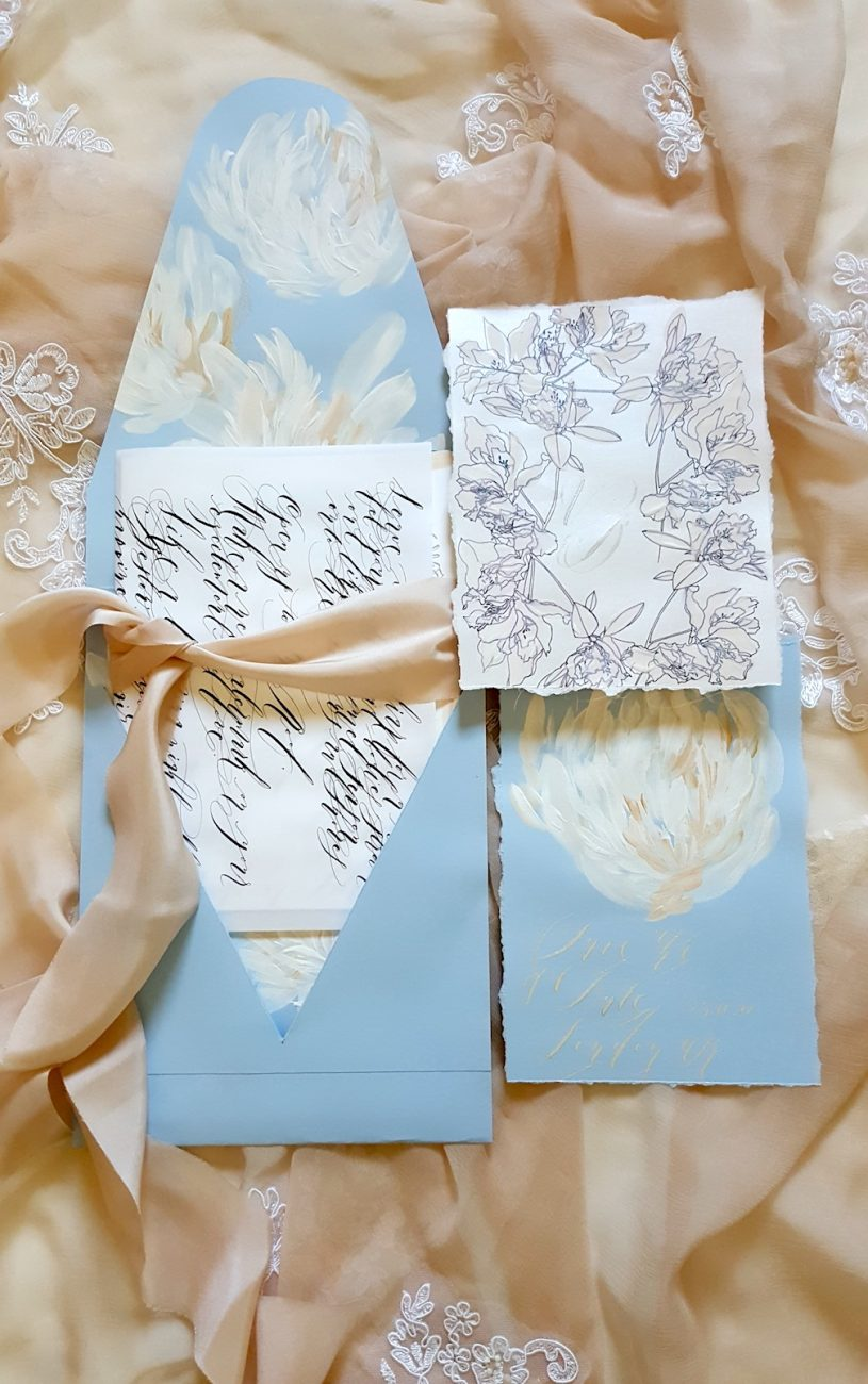 Hand Painted Wedding Stationery calligraphy wrap with suite