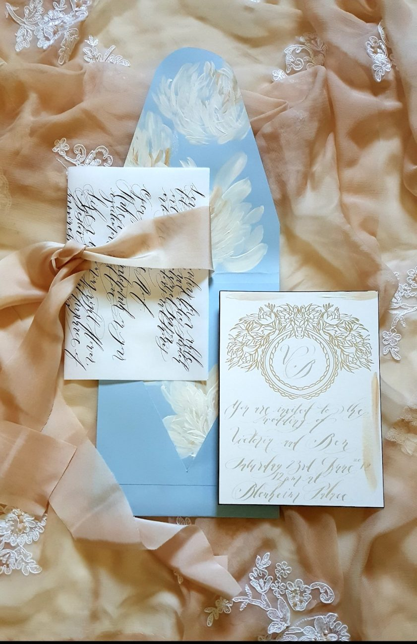 Hand Painted Wedding Stationery envelope card and calligraphy wrap