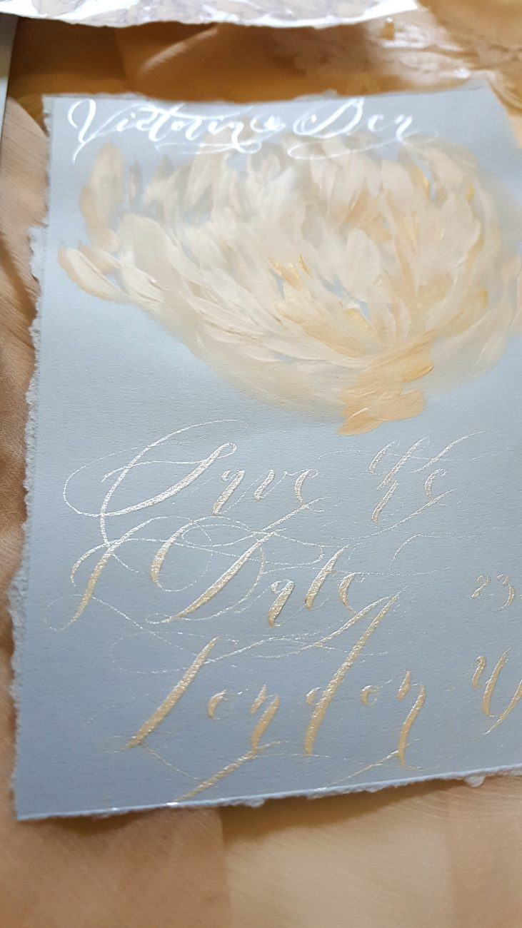Hand Painted Wedding Stationery save the date card with siver calligraphy