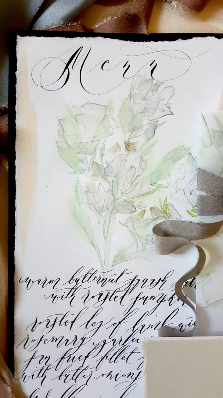 Watercolour Wedding Invitations menu with foliage and black calligraphy
