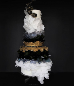luxury wedding cake designers black and white feathers