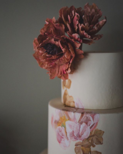 luxury wedding cake designers softly painted flowers