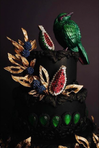 Luxury wedding cake designers emerald green bird