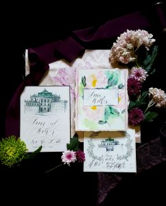 Hand Painted Wedding Invitations blush suite with venue drawing