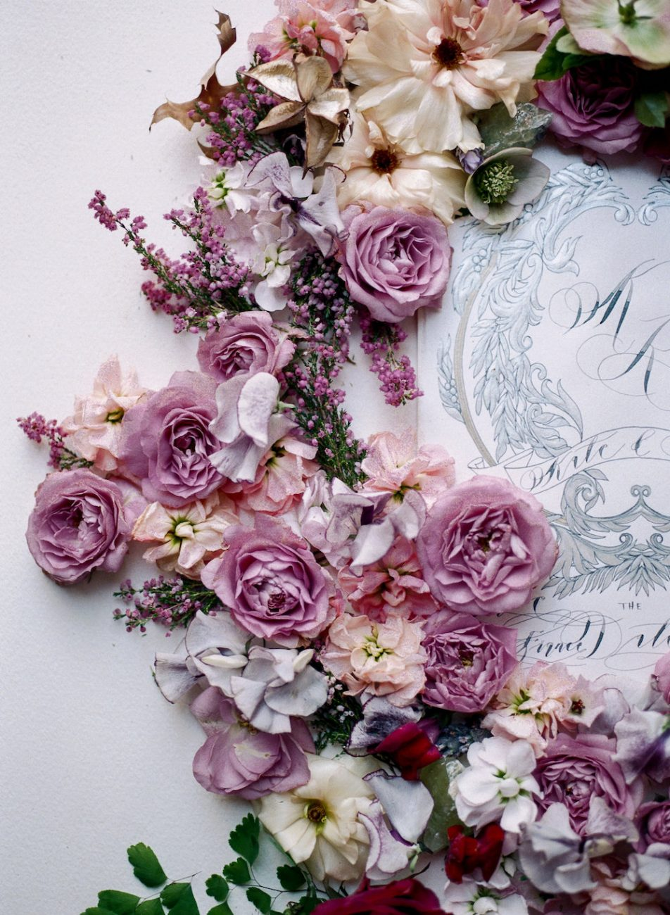 Hand Painted Wedding Invitations florals around silver painted details