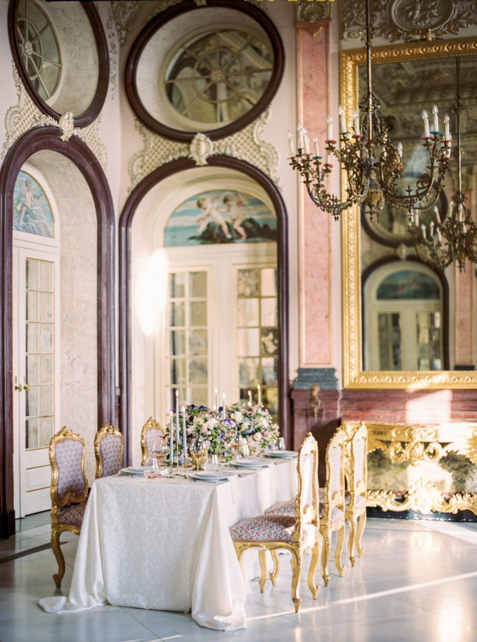 Hand Painted Wedding Invitations large table setting inside a Portuguese palace
