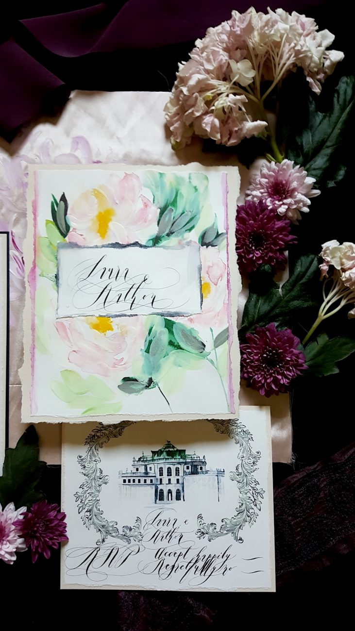 Hand Painted Wedding Invitations monogram card and rsvp card