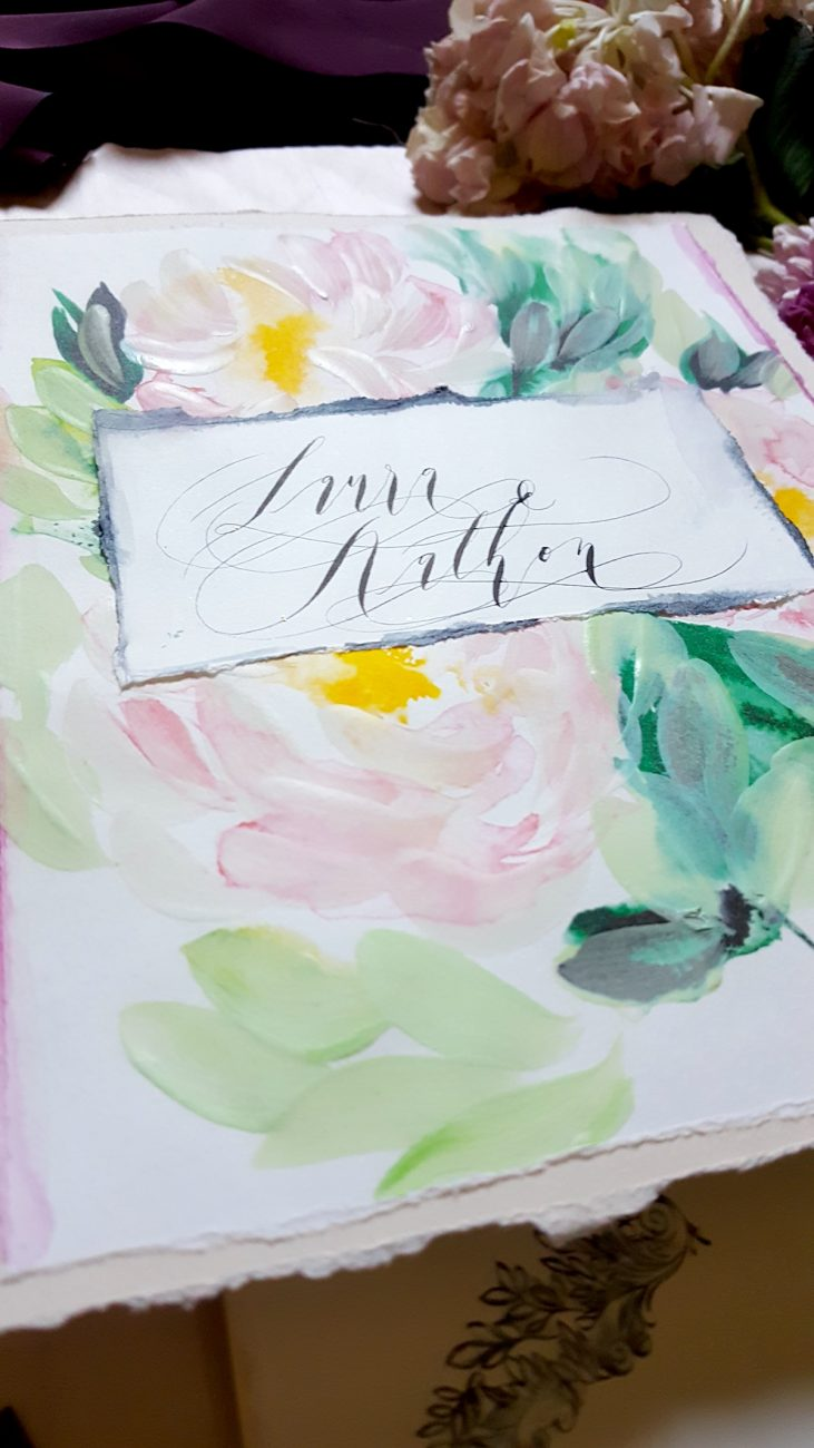 Hand Painted Wedding Invitations monogram card with names