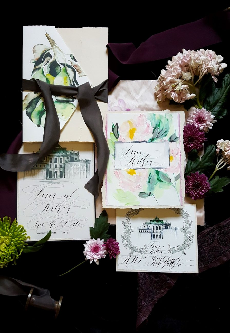 Hand Painted Wedding Invitations pears suite