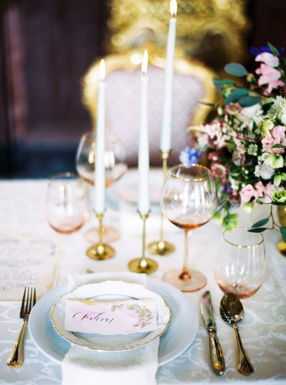Hand Painted Wedding Invitations place names on a table setting
