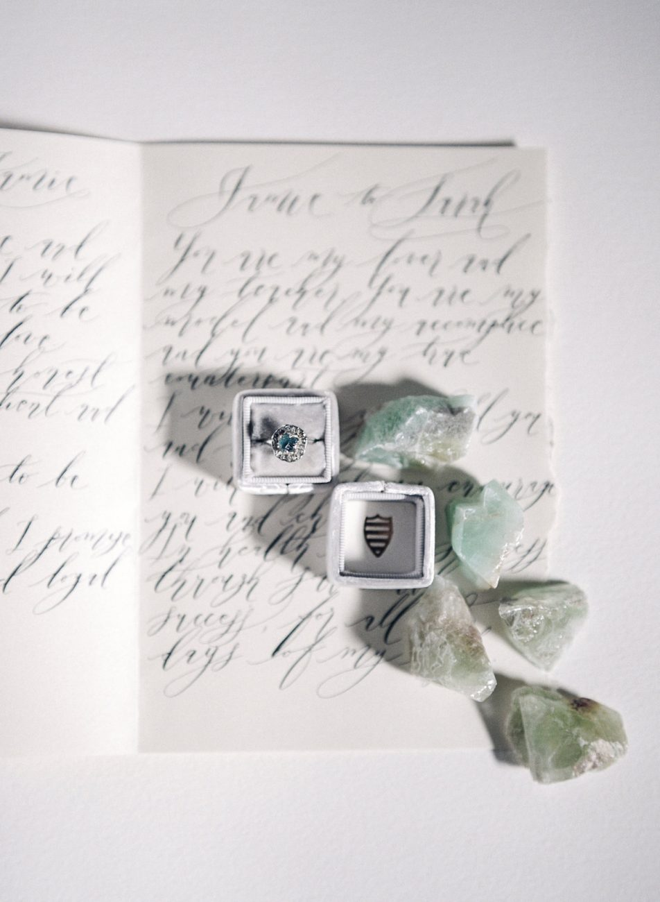 Hand Painted Wedding Invitations ring box and gems styled with vow book