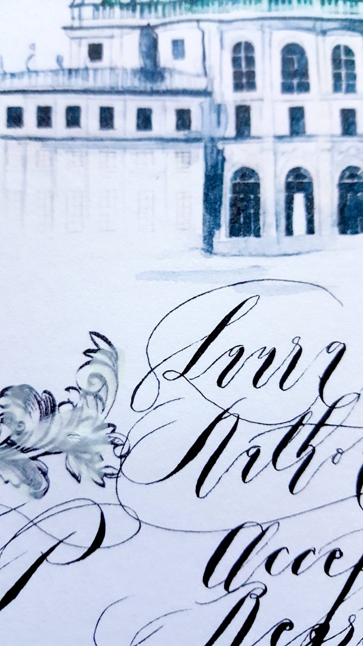 Hand Painted Wedding Invitations rsvp card close up view
