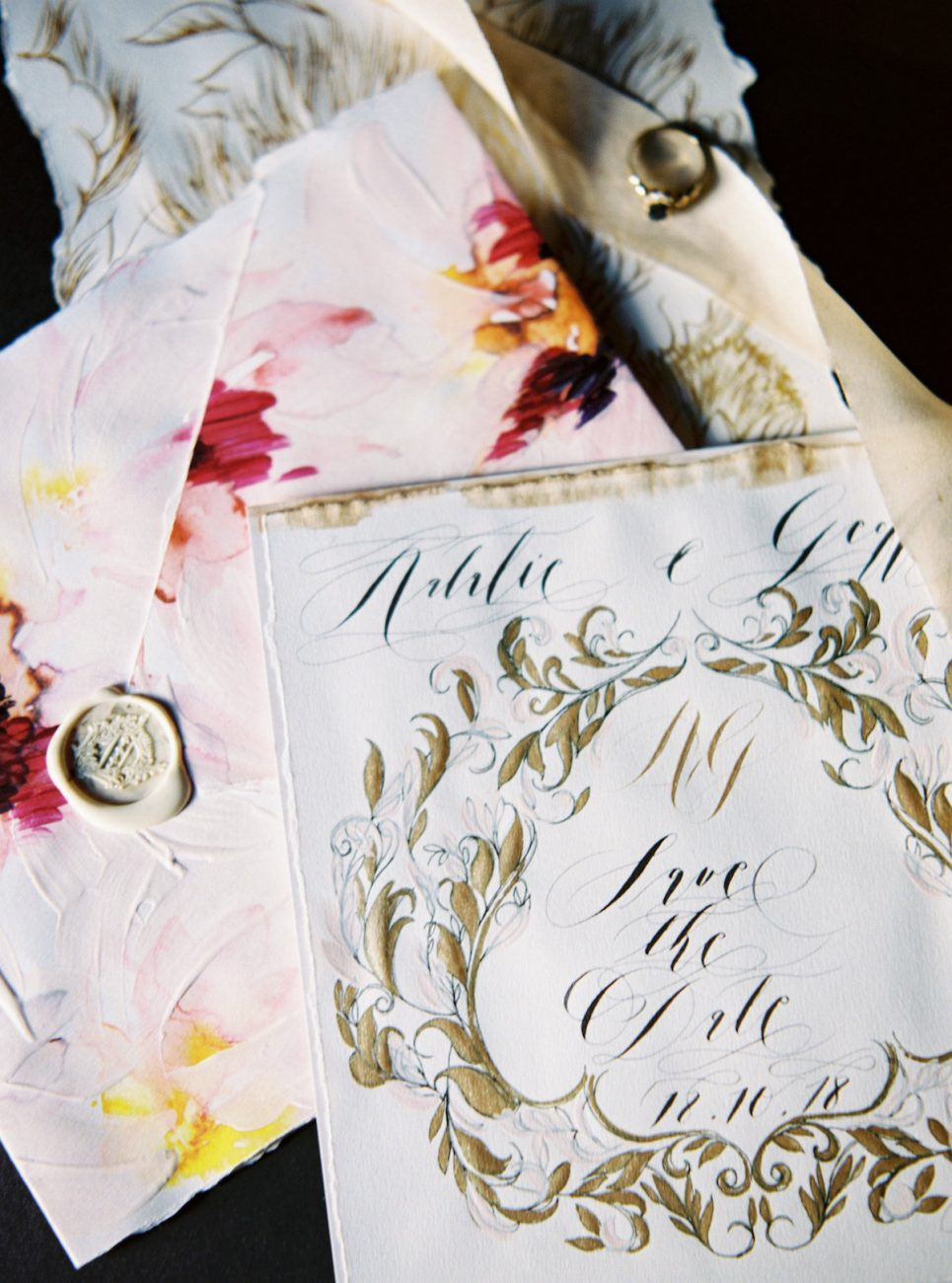 Hand Painted Wedding Invitations save the date with tarnished gold and black calligraphy