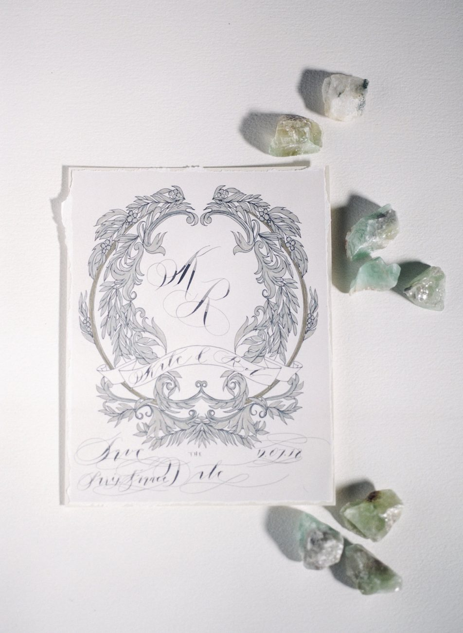 Hand Painted Wedding Invitations silver crest design for save the date card