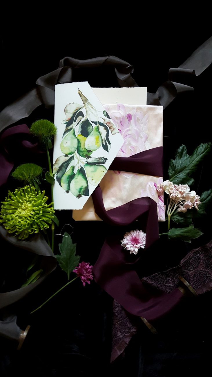 Hand Painted Wedding Invitations watercolour pear envelope with blush raw silk