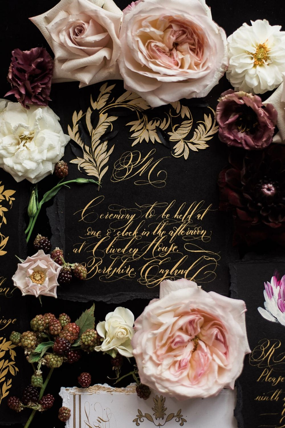 Hand painted black and gold wedding invitation design