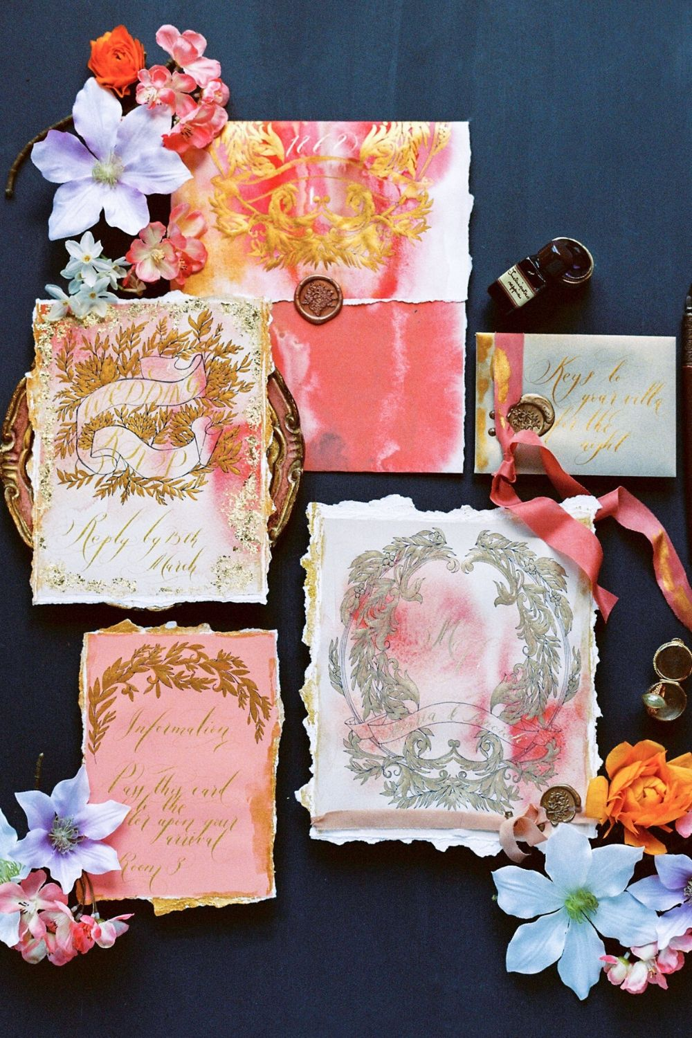 Pink, coral and gold wedding stationery suite