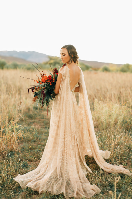 Thankful For Love bride with gold dress side view