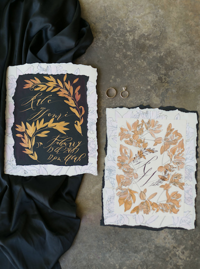 Thankful For Love hand painted wedding invitations