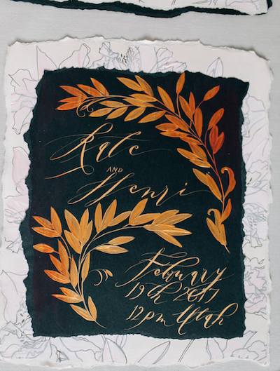 Thankful for Love Autumn inspired style shoot black and gold hand painted wedding stationery