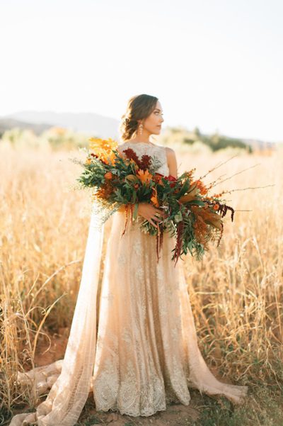 Thankful for Love Autumn inspired style shoot bride with sun shining through dress