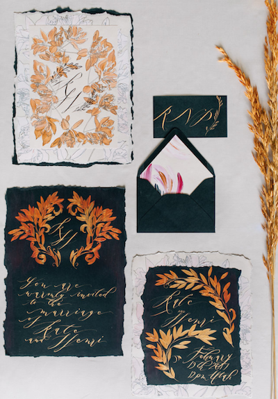 Thankful for Love Autumn inspired style shoot hand painted wedding invitations