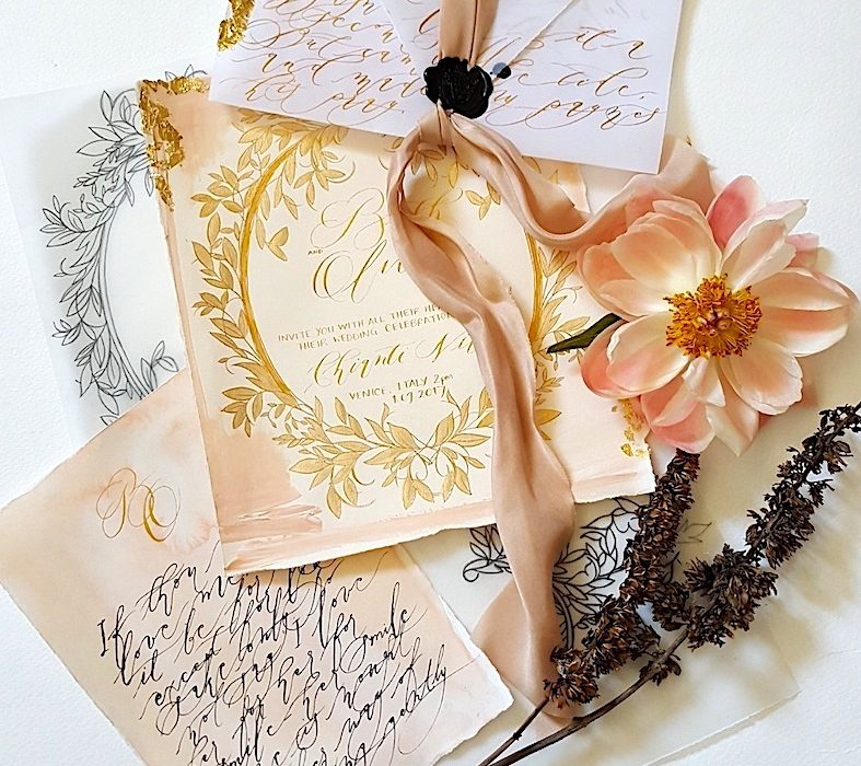 Wedding stationery business gold leaves cards