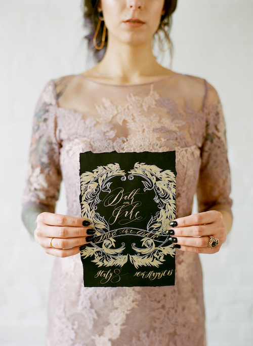 Hand Painted Wedding Stationery bride