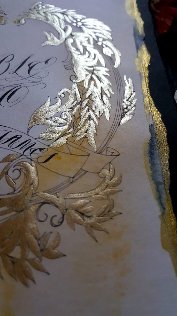 Hand Painted Wedding Stationery gold painted detail from table number