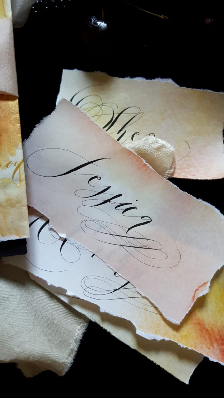 Hand Painted Wedding Stationery place names with black calligraphy and orange watercolour