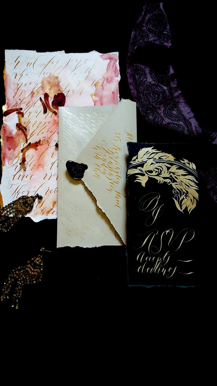 Hand Painted Wedding Stationery rsvp card and envelope
