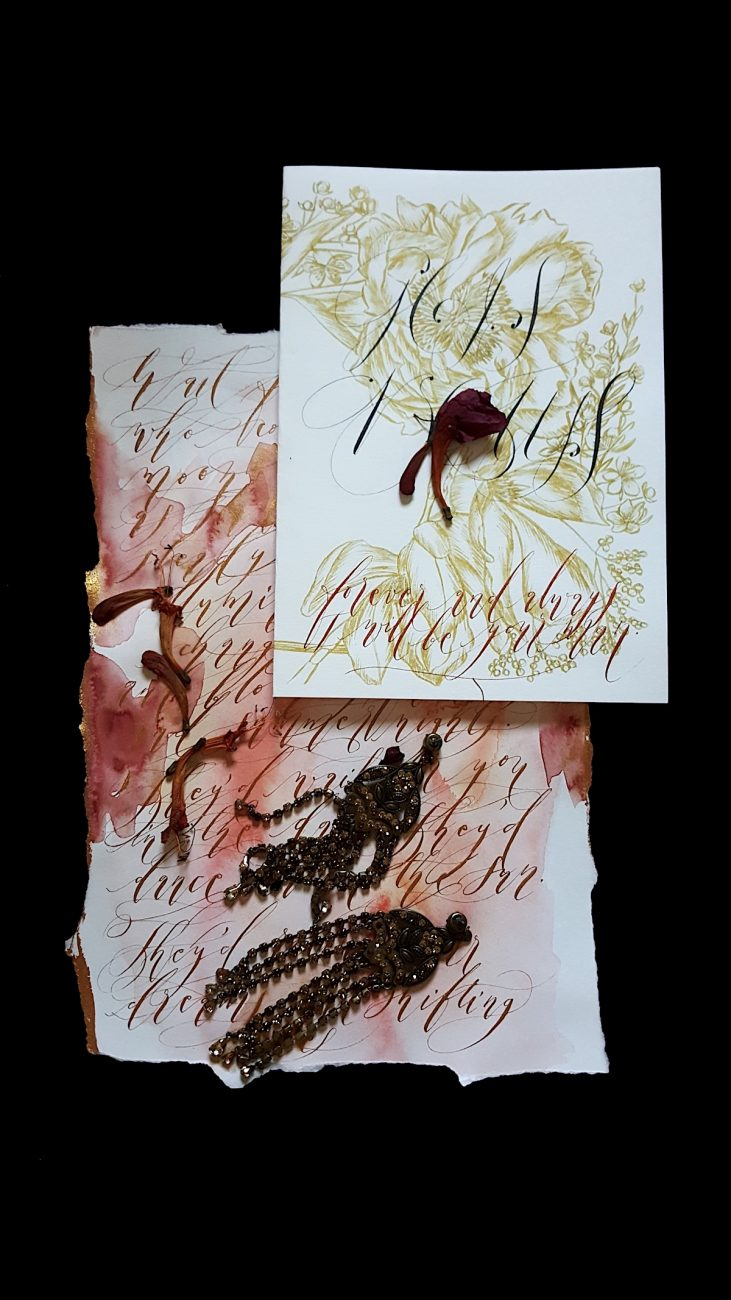 Hand Painted Wedding Stationery vow book and calligraphy copy
