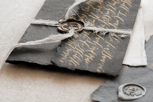 Latest Wedding invitation trends for 2019 calligraphy on the back of envelopes