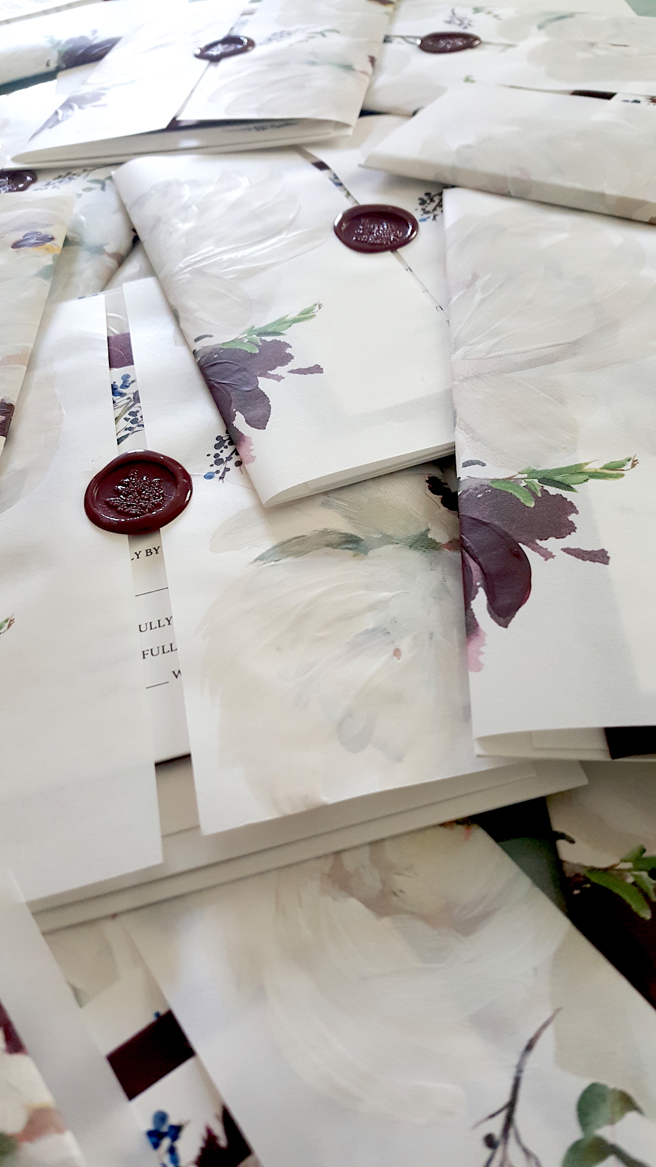 Invitation decorative hand painted wraps stamped with wax seals